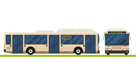 Modern bus vector flat design. Public transport vehicle, city transit short distance bus, front and side view, isolated.