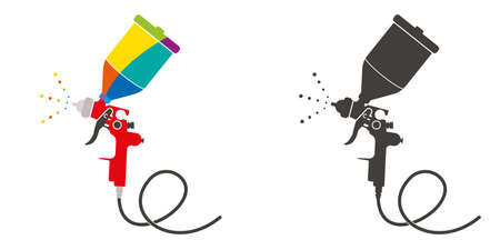Paint sprayer vector illustration.Spray gun for car body painting, aerography airbrush.