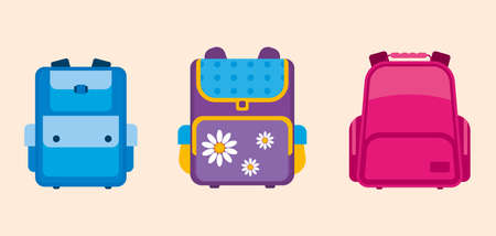 School bags vector illustration. Colorful backpack for boys and girls. Illustration