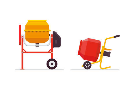 Cement concrete , stucco and mortar mixer, self-powered with electric motor. Stationary and portable on wheels. Vector illustration. Illustration