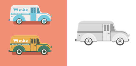 Vintage old divko style delivery truck. Retro transport vector illustration.