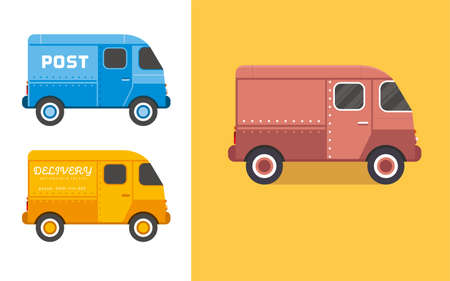 Vintage Van vector illustration. Old style delivery of food truck, compact city car.