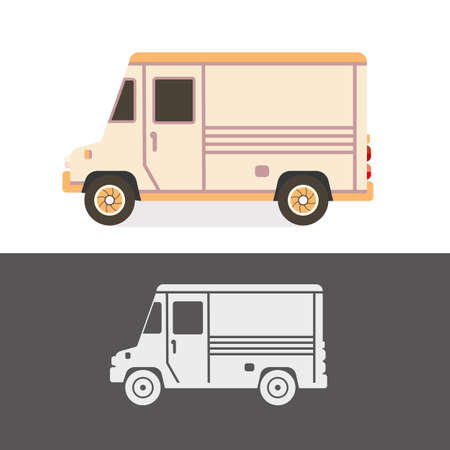 Metromite old school vintage van. Food or delivery retro truck. Car vector illustration.