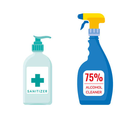 Hand sanitizer pump bottle and alcohol cleaner spray. Antibacterial disinfectant vector illustration.