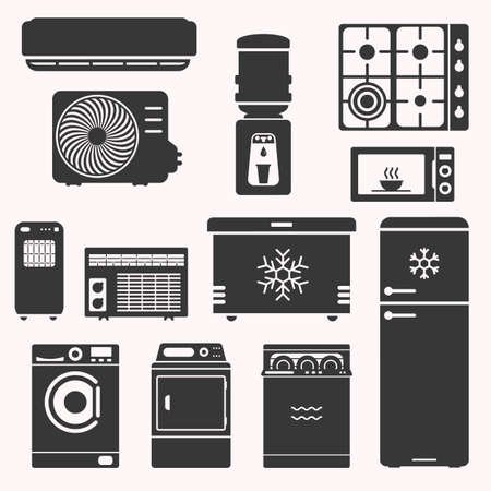 Major home appliences set, such as stove, fridge, freezer, water cooler, microwave, air conditioning, dish washer, dryer, washing machine. Domestic equipment. White goods vector illustration.