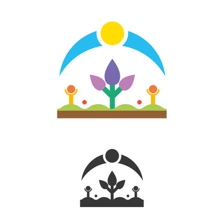 Environmental illustration concept, symbol of nature, with stylized flower, sky and sun on a green grass, with human symbol with raised hands. Organic pure product vector graphics.