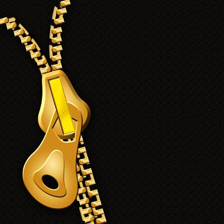 Stylized background design of a gold zipper on black background for scrapbooking or --other Reklamní fotografie