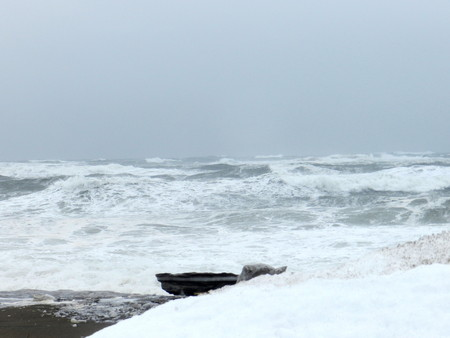 Winter storm by the sea near Aguanish, in Quebec, Canada