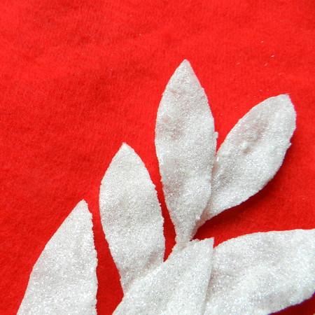 Plastic ice leaf on a red fabric Reklamní fotografie