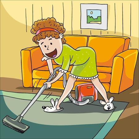 woman with a vacuum cleaner 版權商用圖片 - 36753859