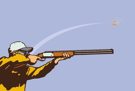 hombre disparando: Al plato