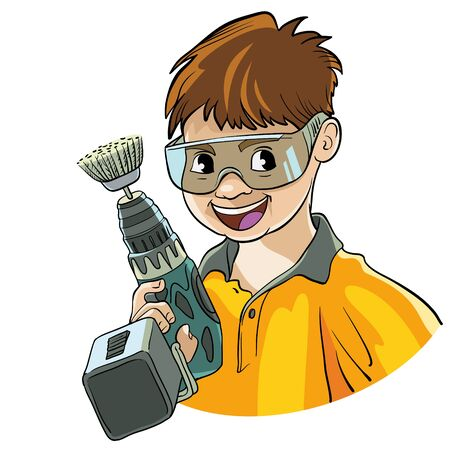 cordless: Vector illustration. Character holding a cordless tools. On the face of the goggles. Illustration