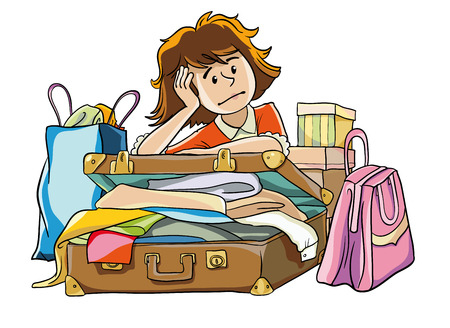 25 29: vector illustration. A woman surrounded by boxes, bags and suitcases with things