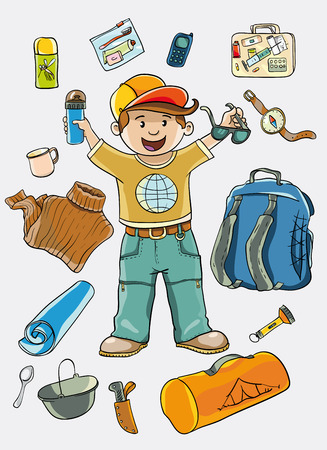 insect repellent: vector illustration. The boy dreams of camping