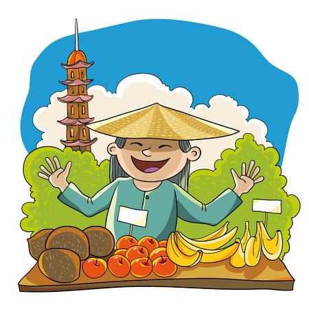 ベクトル イラスト。樹木のタワーを背景に商人のフルーツ。ベトナムのシーン。
