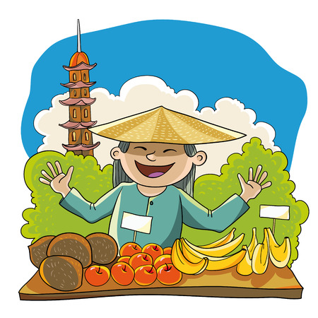 viet nam: vector illustration. Merchant fruit against a backdrop of trees and towers. the scene of Viet Nam.