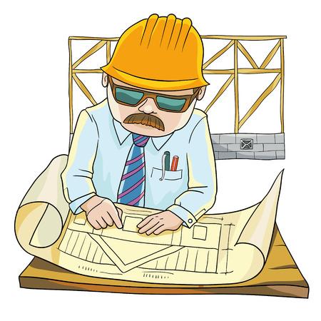 arquitecto caricatura: ilustración vectorial. Un arquitecto con experiencia valida el plan de construcción de una Casa
