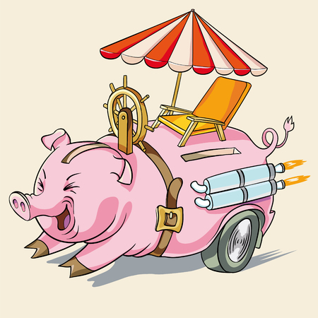 exhaust pipe: vector illustration. pig piggy or rapid accumulation