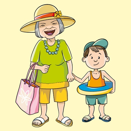 grey hair: vector illustration grandmother with grandson goes to the beach