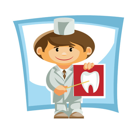 Vector illustration. Doctor with a poster shows how the tat. Illustration