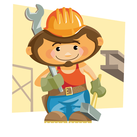 mature adult: Cartoon iron worker with a hammer and a wrench. Vector illustration Illustration