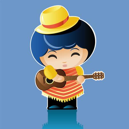 poncho: ilustraci�n vectorial. Artista de la mu�eca. peque�o hombre con un poncho y el sombrero toca la guitarra Vectores