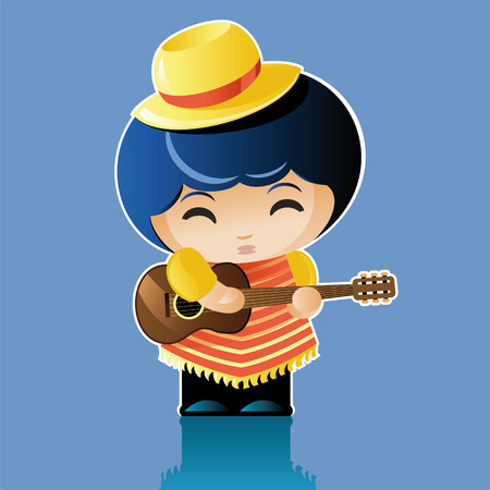 poncho: vector illustration. Doll artist. little man in a poncho and hat plays the guitar
