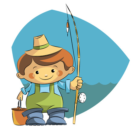 wading: boy fisherman with a fishing rod bucket.Vector illustration. Illustration