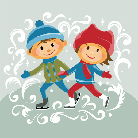 children smile: cartoon boy and girl skating. frosty pattern. vector illustration.
