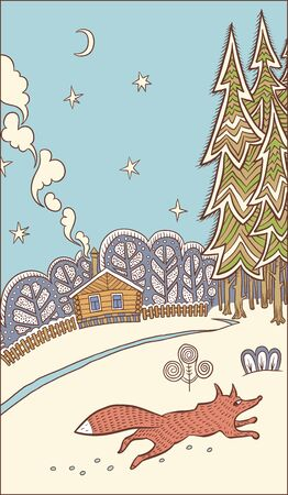 pulse trace: Winter. A cozy dwelling people. Fox is running about their business. Vector illustration