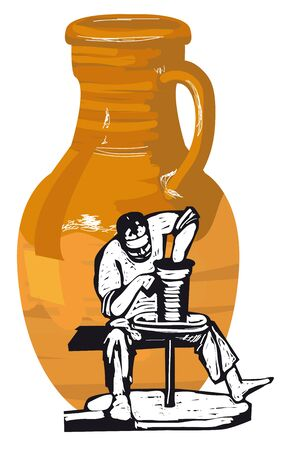Vector illustratie. Man werkt hij aan een Potters wiel. De achtergrond fungeert als een groot werper.