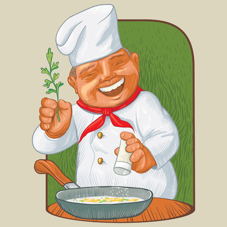 Happy cook with relish, recounts a new cooking recipe.