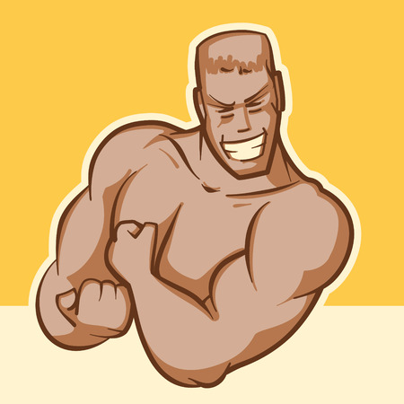 beefy: A beefy guy with a charming smile shows bicepcy