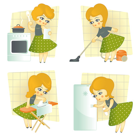 food storage: Vector illustration. Four images of housewives in retro style Illustration