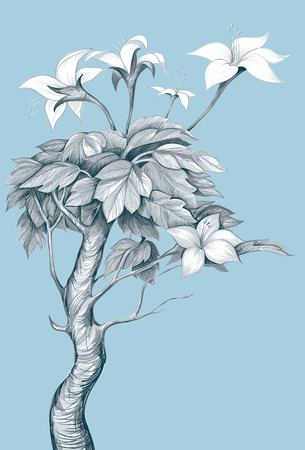 invented: vector illustration. Image invented by the tree with white flowers.