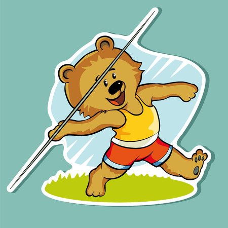 accurately: Sticker. Bear throws the Javelin far and accurately.