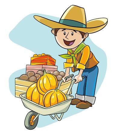 Happy farmer luck in wheelbarrow crop from several pumpkins Illustration