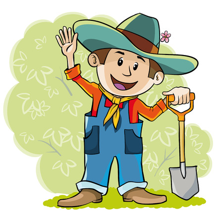happy farmer: happy farmer stands with a shovel and happily waving hand Illustration