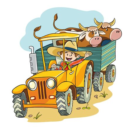 happy farmer: happy farmer rides on the tractor in the trailer he had two cows Illustration