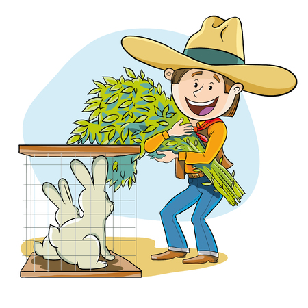 happy farmer: Happy farmer feeds his rabbits fresh hay Illustration