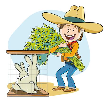 feeds: Happy farmer feeds his rabbits fresh hay Illustration