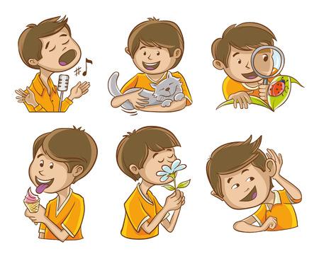 Hombre feliz ilustra los cinco sentidos del hombre. Y fotos adicionales de la cantante.