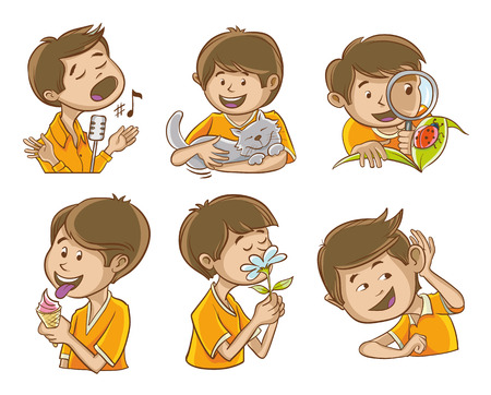 Happy man illustrates the five senses of man. And additional images of the singer. Illustration