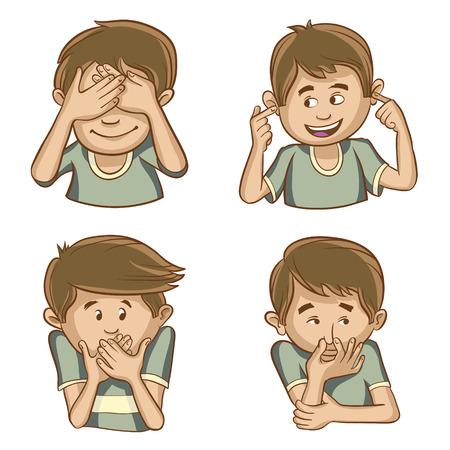 ser humano: Cuatro carácter ilustrado que muestra las sensaciones físicas del ser humano. Vectores