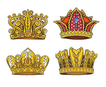 superiority: Cuatro inventaron la corona, la insignia de la superioridad de oro y piedras preciosas Vectores