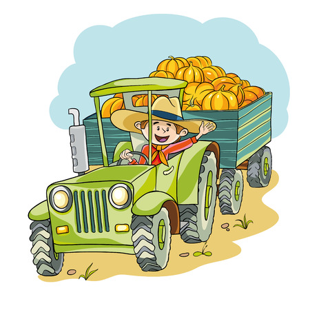 farm tractor: Happy lucky farmer on his tractor harvest pumpkins