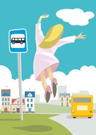 llegar tarde: La chica era tarde para mi autobús autobús.El había dejado. Pero ella quería irse.