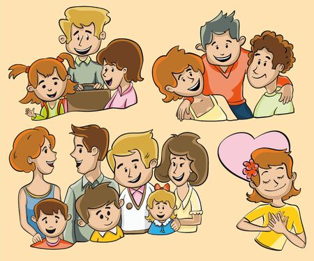 family and friends: Funny illustrations of groups of people. Family. A group of two families. Friends. A girl in love.