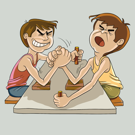 competitors: Picture of two competitors in the power of the men at the table for armwrestling Illustration