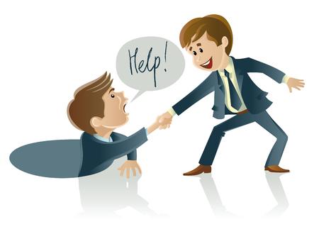 Vector illustratie van twee mannen van wie een ander helpt